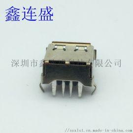 USB 母座90度大电流 弯脚卷边 带后盖