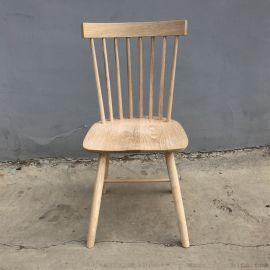厂家直销北欧白橡实木温莎椅子家用小户型白茬白胚餐椅