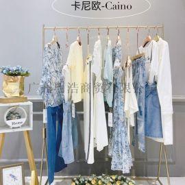 夏季新款百搭条纹衬衫女装卡尼欧品牌折扣尾货渠道