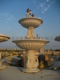 园林景观、石雕水钵、石雕喷泉、黄锈石双层水钵