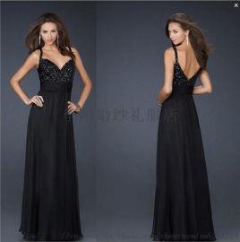 **齐地外贸双肩黑色雪纺礼服钻饰礼服晚会礼服