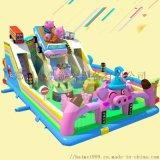 新款小豬飛車兒童充氣滑梯城堡在公園擺放備受歡迎