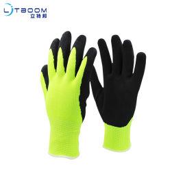 13針熒光黃磨砂手套