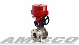 进口电动V型球阀|美国AMISCO电动V型球阀