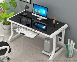 简易电脑桌台式现代简约家用钢化玻璃卧室书桌带键盘托办公学习桌