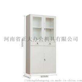 钢制办公文件柜 中二斗带抽屉玻璃门资料柜铁皮档案柜