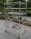 组装8米双宽直梯铝合金架子,深圳空达脚手架厂家现货