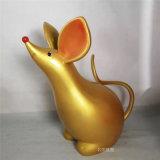 元旦主題卡通雕塑玻璃鋼金鼠雕塑鼠年吉祥物雕塑