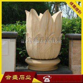 小区景观花钵 园林花盆 石材花盆雕刻