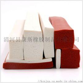 彩色硅胶发泡密封条 方形海绵硅胶条 白色橡胶海绵