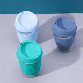 硅胶套防烫玻璃杯 防滑咖啡杯