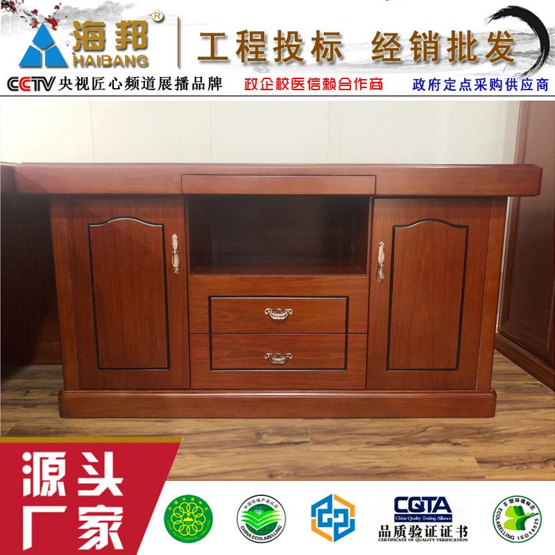 海邦家具3816款老板桌 3.8米油漆实木办公桌