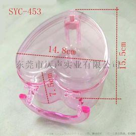 453厂家供应PS透明手提心形化妆盒手提首饰盒彩妆