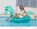 充氣透明獨角獸坐騎 PVC亮片水上浮排浮牀浮標