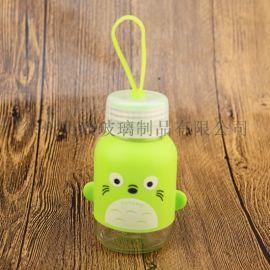 创意水杯硅胶套水杯儿童杯迷你水杯玻璃水杯防漏水杯
