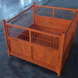 折叠式金属倉儲籠 堆垛式铁框 网格箱钢制周转