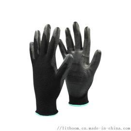 立特邦安全防护用品 黑色 PU浸掌手套