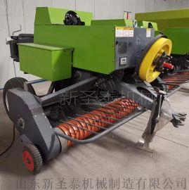 四轮牵引秸秆牧草打捆机 牛羊饲料青储方捆压块机