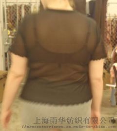 针织素色涤纶弹力网眼面T恤上衣 大码女装