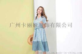 广州品牌折扣女装成熟韩版款宽松连衣裙系列尾货批发