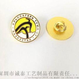 金屬琺琅徽章廣東公司鍍金徽章廣告禮品活動佩戴徽章