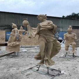 欧式人物雕塑 名图玻璃钢人物雕像 广场公园景观造型