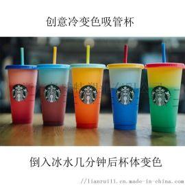 夏日创意塑料冷变色杯瓶身花色均可定做
