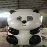 大型玻璃钢仿真动物雕塑、动物园玻璃钢熊猫雕塑