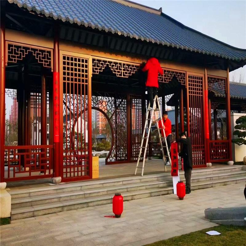 中式別墅門頭造型鋁斗拱 羅馬式屋檐金屬斗拱效果案例