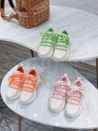 春款米白撞橘色冲孔透气羊皮垫软牛皮板鞋