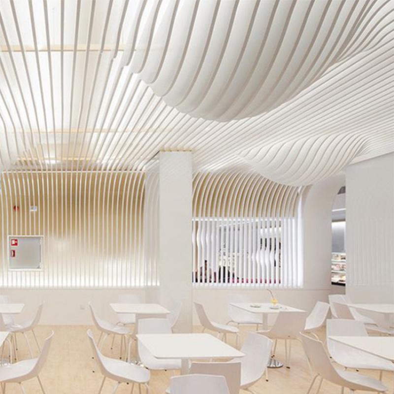 白色木紋弧形鋁方通廠家定製室內幕牆吊頂異形鋁方通