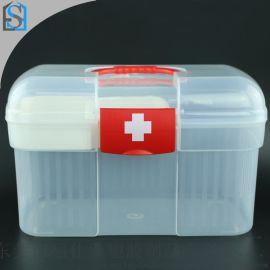 透明塑料盒,便携医药箱,双层收纳盒