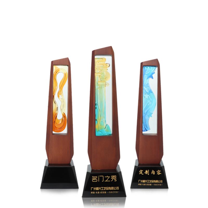 创意实木古法琉璃奖杯订做 广州琉璃奖杯定制