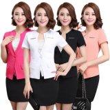 供应夏季职业套装夏装时尚韩版ol套裙短袖工作小西装正装印制LOGO