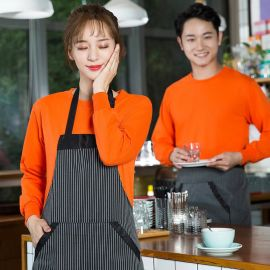 秋冬装快餐火锅店服务员长袖圆领超市西餐饮蛋糕咖啡厅工作服装
