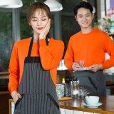 秋冬裝快餐火鍋店  員長袖圓領超市西餐飲蛋糕咖啡廳工作服裝