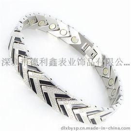 德利鑫 DLXZZ 批发钛钢饰品 流行滴胶磁石防辐射抗疲劳手链 厂家