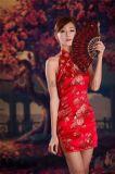 马如龙19年春夏季绣花性感旗袍品牌女装