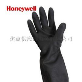 正品保障 霍尼韦尔 加长版氯丁橡胶防化手套 黑色 2095025 9寸