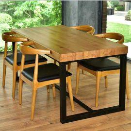 休闲咖啡餐厅长条松木桌子厂家众美德