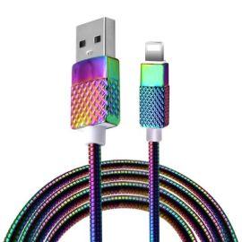 苹果七彩锌合金弹簧数据线iPhone7手机数据线炫彩手机快充充电线