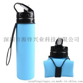 亚马逊爆款硅胶吸嘴保温水壶 便携可折叠自行车水杯野营水壶