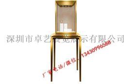 不锈钢珠宝展示柜不锈钢玻璃带灯立柜