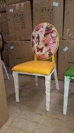 休闲椅子 欧式金属椅餐厅 咖啡厅椅圆头金属梦露