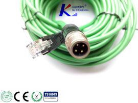 插头M12千兆以太网通讯线缆,现场总线连接线