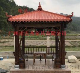 花园小区景观实木凉亭-古建木结构六角凉亭