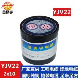 金环宇电缆 国标 钢带铠装电缆 YJV22 2X10平方 铜芯电缆 定做