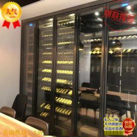 酒店不鏽鋼酒櫃 恆溫酒櫃 拉絲玫瑰金金屬酒櫃定制