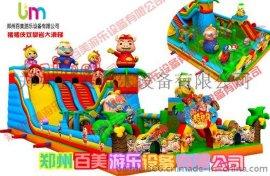 充气大滑梯游乐园,新款大型超级飞侠组合充气城堡乐园