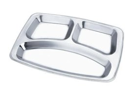 不锈钢小三格快餐盘